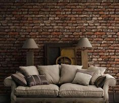 Stone, Brick & Textured Wallpaper - U. Brick Wallpaper Interior Design, Brick Wallpaper Mural, Textured Wallpaper, Textured Walls, Interior Design Living Room, Living Room Designs, Living Room Decor, Interior Decorating, 3d Wallpaper