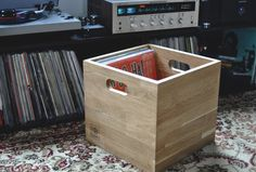10 incredible record player consoles to reimagine your living space Record Storage Box, Vinyl Storage, Lp Storage, Wooden Storage Boxes, Crate Storage, Storage Cubes, Record Holder, Vinyl Record Box, Record Crate