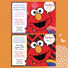 Elmo Birthday Party Invitation Design for Boys and Girls – Printed with Special Cookie Monster Envelopes!!!