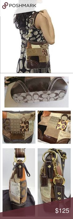 Rare Coach Brown Patchwork Duffle F12840 Rare EUC Coach Patchwork Duffle in Brown Chocolate Leather/Suede/Leopard Print/Logo Signature Canvas with Brass Hardware! Yes, minimal scratches on hardware but otherwise very clean! It is in excellent condition. It's Brown fabric lining, 1 zip & 2 slip pockets, the adjustable leather strap has a dog leash clasp, it can be worn in the shoulder or as a Crossbody! It measures 10 X 10.5 X 3 🚫no trades price firm🚫 Coach Bags Shoulder Bags