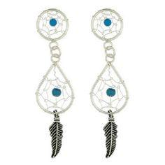DESIGNER SILVER DREAM CATCHER EARRINGS WITH TURQUOISE BEADS NOW $22.95aus .....................With FREE SHIPPING WORLD WIDE.. SAVE THIS PIN OR BUY NOW FROM LINK HERE http://www.ebay.com.au/itm/-/172506928057?ssPageName=ADME:L:LCA:AU:1123