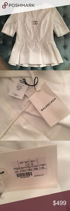 Balenciaga peplum top size 40 Brand new with tags size 40. All white peplum top. Balenciaga Tops