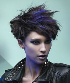Short Brown straight choppy spikey multi-tonal womens haircut hairstyles for women