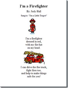 I'm a Firefighter Preschool Poems, Preschool Music, Preschool Learning, Kindergarten Activities, Fire Safety Crafts, Fire Safety Week, Preschool Fire Safety, Firefighter Crafts, Fire Prevention Week