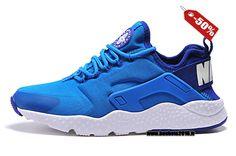 Officiel Nike Air Huarache 3 de haute qualité Chaussures Nike Running Pas Cher Homme Bleu - Blanc