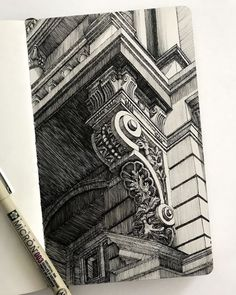 A balcony support in Cracow fineliner Architecture Drawing Plan, Architecture Drawing Sketchbooks, Pencil Sketches Architecture, Urban Architecture, Ancient Architecture, A Level Art Sketchbook, Arte Sketchbook, Art Sketches, Art Drawings