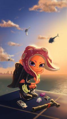 "from faraway"" / Illustration by ""BB梅村"" [pixiv] Nintendo Splatoon, Splatoon 2 Art, Splatoon Comics, Splatoon Squid, Lucario Pokemon, Fanart, Disney Infinity, Super Smash Bros, Animal Crossing"