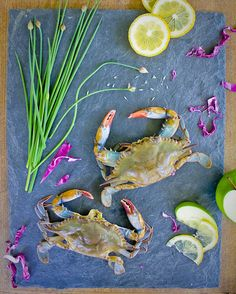 Soft Shell Crab + Chives + Lemon + Cabbage + Apples = Cornmeal Crusted Soft Shell Crab with Buttermilk Apple and Chive Coleslaw