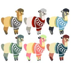 Alpacas Wearing Sweaters Clip Art  Clipart Alpacas Alpaca
