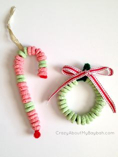 Candy Cane and Wreath Ornament Craft - 25 Winter and Christmas Crafts for Kids christmas crafts food Christmas Crafts For Toddlers, Preschool Christmas, Christmas Crafts For Kids, Christmas Activities, Toddler Crafts, Winter Christmas, Holiday Crafts, Christmas Holidays, Christmas Crafts For Preschoolers