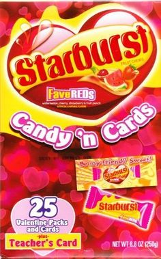 Starburst Candy n Cards Valentines by WM Wrigley. $14.99. 25 Valentines packs and cards, plus Teacher's card. 4 fun designs.