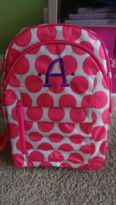 Purple personalization on coral mod dot.  www.mythirtyone.com/tkmiller or check out my Facebook page for all the latest updates  free giveaways! Www.facebook.com/KristinesThirtyOneGifts