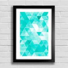 Poster Triângulos - Turquesa - comprar online