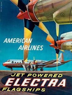 1950s airline posters | ... Posters - American Airlines Jet Powered Electra Original Travel Poster