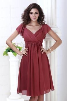 Perfect Empire Waist V-neck Capped Knee-Length Juliana's Bridesmaid Dress (liking the soft garden wedding feel but I think it would be strikingly elegant in black-dd)