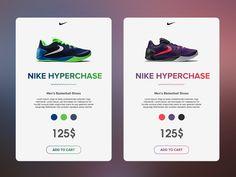 Nike Hyperchase Shoe E-Commerce Product Cards | Mobile iOS UI Design