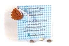 Faire-part remerciement biscuit personnalisé, vichy bleu et blanc  modèle dépose avril 2014, toute reproduction interdite.