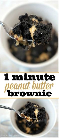 Peanut butter brownie in a mug recipe, it's amazing! Throw it all together, stick in the microwave for 1 min. Peanut butter brownie in a mug recipe, it's amazing! Throw it all together, stick in the microwave for 1 min. Vegan Desserts, Easy Desserts, Delicious Desserts, Yummy Food, Easy Microwave Desserts, Tasty, Delicious Chocolate, Quick Chocolate Desserts, Easy Chocolate Mug Cake