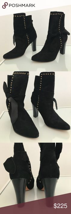 Ulla Johnson Aggie Suede wrap booties size 38 Black suede bootie with scuff marks on bottom from being tried on in store. Ulla Johnson Shoes Ankle Boots & Booties