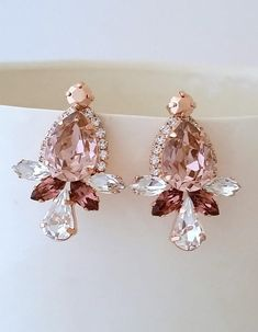 Rose gold earrings,Blush earrings,Crystal Bridal earrings,Bridesmaid gift,Bridal jewelry,Swarovski earring,statement earring,Wedding earring