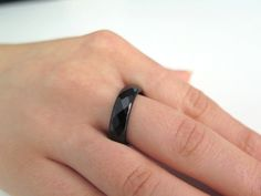 Onyx faceted ring Band ring Stacking ring Stackable by Viyoli