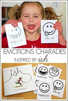 Emotions Charades Inspired by Ish by Peter Reynolds #Ish #PreschoolBookClub