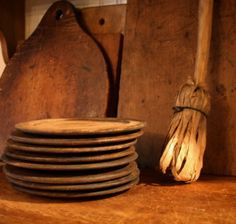 Treen plates-look at the drieds on the handmade broom