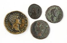 (lot of 5) Associated group of Roman coins including a Constantine I, AD 307-337, copper coin, Rome mint, reverse standing figure of Saul holding a globe, an Antoninus Pius, AD 138-161, Roman issue bronze coin, Augustus, 27 BC - AD 14, bronze coin, obverse bust of Augustus facing left, two small copper chloride spots reverse, together with another Roman coin reading (L)ELIVS CAESAR Cos II