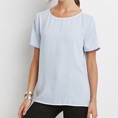 NEW Breezy Pastel Top Size small, tags still attached! pastel blue top with white accent lines. Keyhole back. Very breathable and comfortable, yet dressy top. 100% polyester, feels like chiffon! Forever 21 Tops Blouses