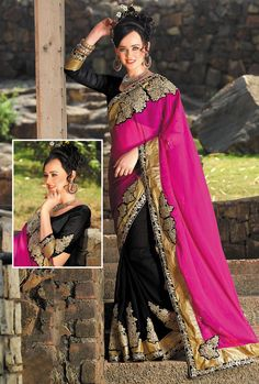 Modish pink black designer saree will add glory to your character with golden embroidery patch works on lace patti, nice color of saree and soft touch fabric. Addsharesale provides huge collection of online women clothing products at one palace. www.addsharesale.com