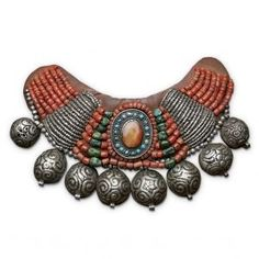 Asia |  Tibetan necklace, Silver, Turquoise and coral