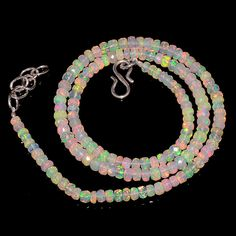 """42CRTS 3.5to4.5MM 18"""" ETHIOPIAN OPAL FACETED RONDELLE BEADS NECKLACE OBI2140 #OPALBEADSINDIA"""