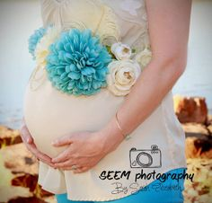 Vintage inspired blue and cream maternity sash - maternity photo prop