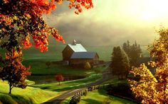Autumn landscape painting HD drawing wallpaper - Download High Resolution Wallpaper