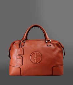 Giorgio Armani Men Travel Bag - LEATHER HOLDALL WITH LOGO Giorgio Armani Official Online Store