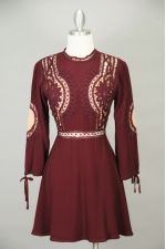 Wine Embroidered Long Sleeve Woven Dress Thumbnail