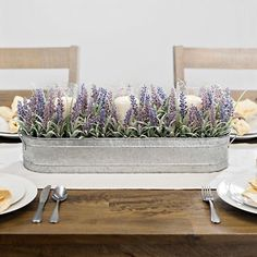 Product Details Lavender Centerpiece in Tin Planter. Lavender Centerpiece in Tin Planter Lavender Centerpieces, Lavender Decor, Dining Room Centerpiece, Wood Box Centerpiece, Dining Room Table Centerpieces, Summer Centerpieces, Kitchen Island Centerpiece, Lavender Ideas, Lavender Crafts