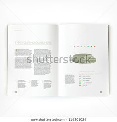 Open magazine double-page spread with text and chart - stock vector