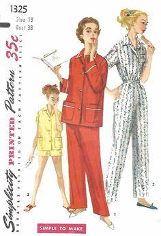 """Vintage 1950's Sewing Pattern Junior Miss Pyjamas Pajamas  & Shorts Size 15 B33"""" #Simplicity"""