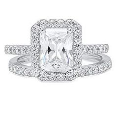 d1812fa40cdc 2.20 CT Emerald Brilliant Cut Simulated Diamond CZ Designer Solitaire Pave  Halo Bridal Anniversary Wedding Promise Ring band set Solid 14k White Gold