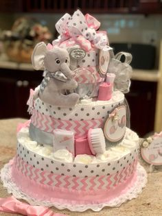 4 Tier, Pink Elephant Diaper Cake for Baby Girl, Diaper Cake Centerpiece, Baby Girl Diaper Cake - Geschenke Ideen Deco Baby Shower, Shower Bebe, Baby Shower Diapers, Girl Shower, Baby Shower Diaper Cakes, Cute Baby Shower Gifts, Baby Girl Cakes, Cake Baby, Girl Diaper Cakes