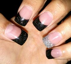 Black & Silver Glitter Solar Acrylic Nails