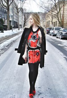 Anne Fontaine Military Coat and Vivienne Tam Dress