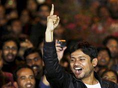 JNU student leader Kanhaiya Kumar addresses the crowd at the university's campus in New Delhi. Photo: All India Radio Twitter Handle