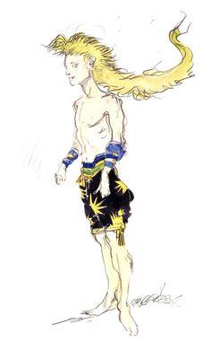 Final Fantasy VI - Gau Concept Art - Yoshitaka Amano