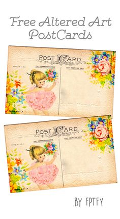 Free Altered Art Post Cards: Pink Ballerina - Free Pretty Things For You