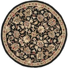 Safavieh Hand-hooked Chelsea Tabriz Black/ Ivory Wool Rug (3' Round), Size 3' x 3'