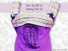 Tula top bib-Tula front bib-Tula teething pads plus top bib set-top bib set with teething pads-drool pads-suck pads-Tula teething pads-bib