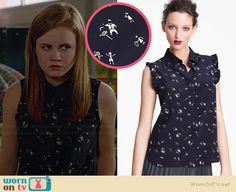 Norrie's tiny people printed top on Under the Dome.  Outfit Details: http://wornontv.net/36553/ #UndertheDome