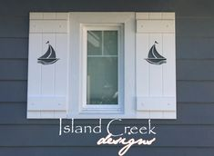 Custom Exterior PVC Vinyl Shutters w/ Nautical Cutouts, Decorative Exterior PVC House Trim, Nautical Vinyl Porch Railing Panels & Gates. Cottage Shutters, House Shutters, Cottage Exterior, Exterior House Colors, Black Shutters, Diy Shutters, Nautical Shutters, Bermuda Shutters, Exterior Vinyl Shutters